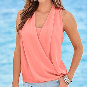 Summer V-Neck Sleeveless Chiffon Blouse - J20Style - 2