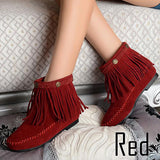 Flat Fringed Faux Suede Boots - J20Style - 5