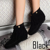 Flat Fringed Faux Suede Boots - J20Style - 3
