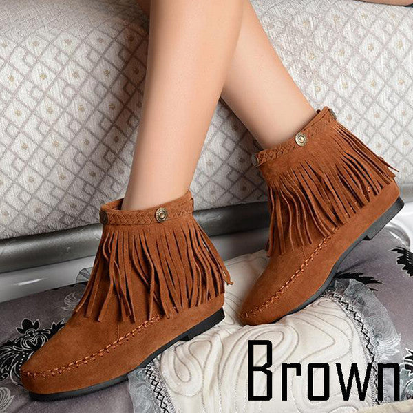 Flat Fringed Faux Suede Boots - J20Style - 2