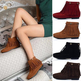 Flat Fringed Faux Suede Boots - J20Style - 1