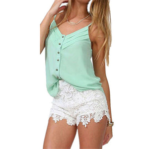 Casual Elastic Waist Lace Shorts - J20Style - 1
