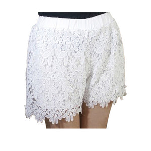 Casual Elastic Waist Lace Shorts - J20Style - 2