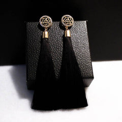 Exaggerated Vintage Rhinestone Crystal Long Tassels Dangle Earring