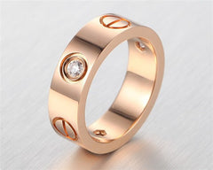 6mm Width Stainless Steel Crystal Carter Love Ring