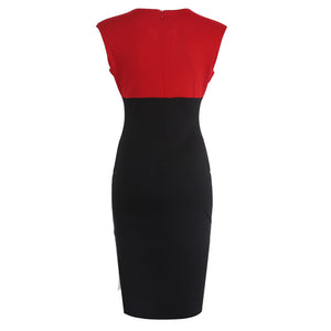 Elegant V-neck Sleeveless Pencil Party Cocktail Body Dress