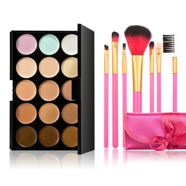 15 Color Make-Up Palette with 7 Powder Brush - J20Style - 1