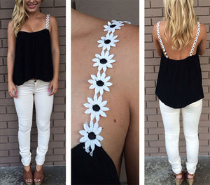 Casual Chiffon Flower Strap Tops - J20Style - 6