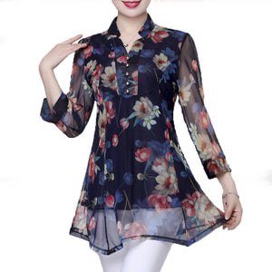New arrival summer Fashion floral plus size chiffon  Dress