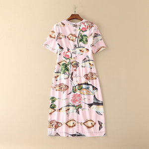 Pink Printing Rose And Fishes Diamond Button Knee-Length Dress