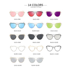 Alloy Mirror Sun Glasses For Ladies Cateye Optical Frames