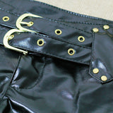 High Quality Black Leather Shorts - J20Style - 4