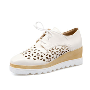 British Casual Lace Up High Platform Oxford Shoes