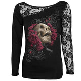 Patchwork Lace Up Skull Printed T Shirt