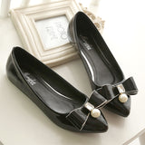 Pointed Toe Diamond Bowtie Leather Flat