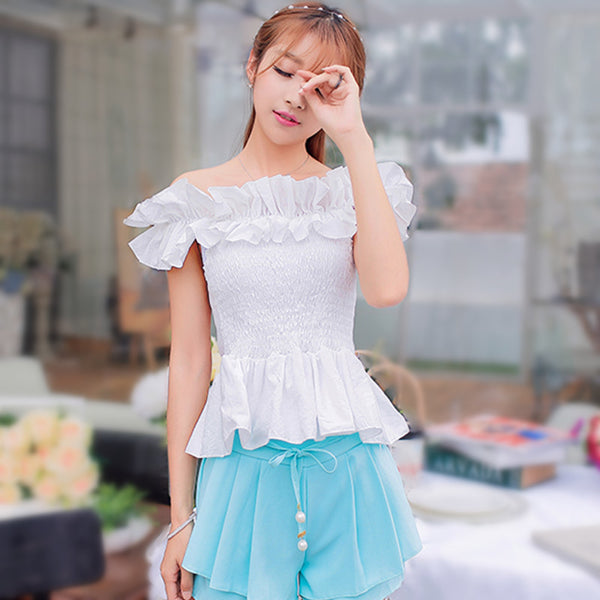 Korean Summer Ruffle Crop Top - J20Style - 1