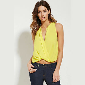 Summer Bow V-Neck Sleeveless Blouses - J20Style - 5