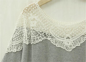 Cotton Lace Hollow Out Patchwork Long T shirt