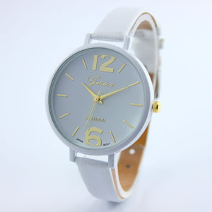 Faux Leather Elegant Clock Time Classics Watch