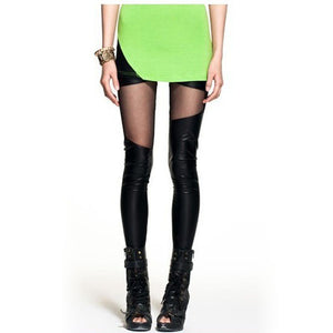 PU Leather Slim Hollow Leggings - J20Style - 1