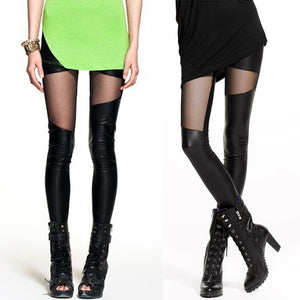 PU Leather Slim Hollow Leggings - J20Style - 6