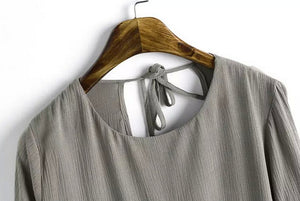 Casual Pleated Backless O-Neck T-Shirt - J20Style - 3