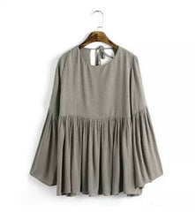 Casual Pleated Backless O-Neck T-Shirt - J20Style - 1