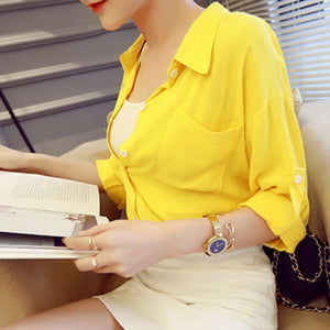 Yellow & White Temperament Women Blouse - J20Style - 2