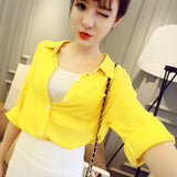 Yellow & White Temperament Women Blouse - J20Style - 3