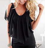 Summer Sleeveless Off The Shoulder Chiffon Tops - J20Style - 4