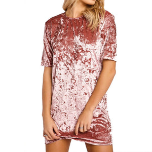 Short Sleeve Loose Long Velvet T-Shirt
