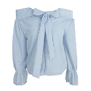 Summer Off Shoulder Bow Striped Shirt - J20Style - 4