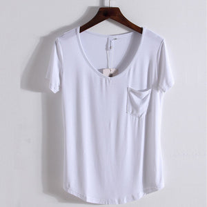 Short Sleeve V-Neck Summer Loose Cotton T Shirt