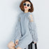 Autumn Winter Fur Spliced Long Sleeves Knitted Sweater