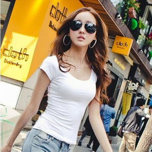 Slim Fit Cotton Short Sleeve Tops - J20Style - 1