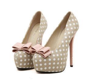 Ultra Thin Dot Printed High Heel Pumps - J20Style - 1