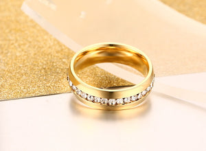 Classic Gold Plated Crystal Wedding Ring