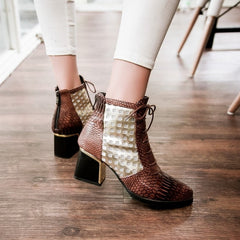 Fashion Pointed Toe Snake Print Cross Tie Ankle Boot