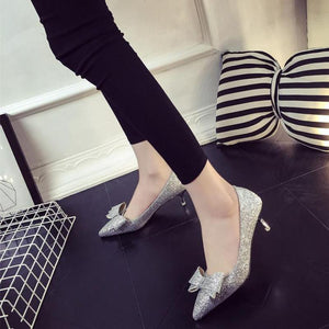 Shiny Bowtie Pointed Toe High Heels