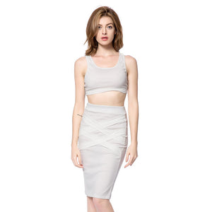 U-Neck Sleeveless and Bandage Skirt - J20Style - 2