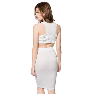 U-Neck Sleeveless and Bandage Skirt - J20Style - 4