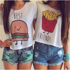 Casual O-Neck Hamburger & Chips Printed T-Shirt - J20Style - 1