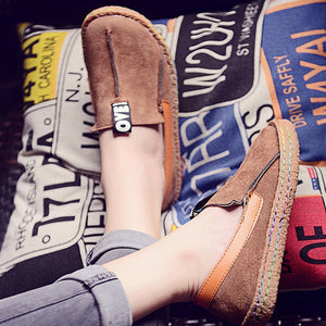 Round Toe Casual Pattern Wide Shallow Slip-on Shoes
