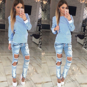 Bowknot Backless Striped Shirts - J20Style - 5