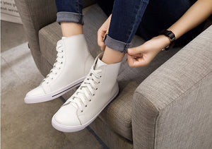 100% Genuine Leather Fashion Lace-Up Solid Flat Shoes