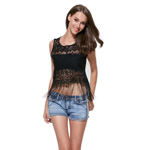 Summer Sleeveless Hollow-Out Lace Tops - J20Style - 1