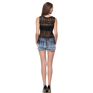 Summer Sleeveless Hollow-Out Lace Tops - J20Style - 2
