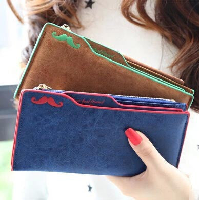 Super-Soft Mustache Long Wallet - J20Style