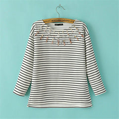 Autumn Striped Diamond O-Neck T-Shirt - J20Style - 2