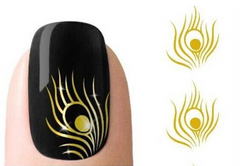 3D Gold Peacock Feather Nail Art Sticker - J20Style - 1